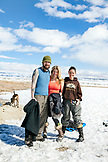 USA, California, Mammoth, friends smile and pose after soaking in the Mammoth Hot Springs