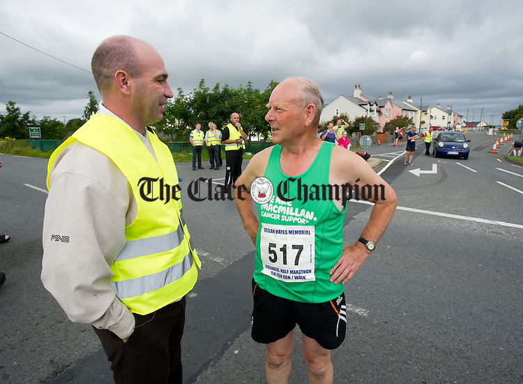 Michael Mc Inerney originally from Cross but returned from Lincolnshire with Kilkenny hurling legend DJ Carey during the Declan Hayes Memorial Doonbeg Half Marathon/10K Fun Run and Walk. Photograph by John Kelly.