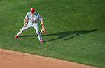 6 September 2014: Philadelphia Phillies second baseman Chase Utley in action against the Washington Nationals at Nationals Park in Washington, DC. The Nationals fell to the Phillies 3-1 in the second game of their 3-game series. Mandatory Credit: Ed Wolfstein Photo *** RAW (NEF) Image File Available ***