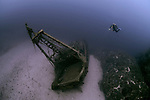 The wreck of the fishing boat Fortunal, Vis, Croatia, which lies between 40 and 55 metres