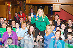 Siobhain Fleming is lifted high to the sky by her Tralee Rugby club teammates in the River Island Hotel Castleisland on Monday night