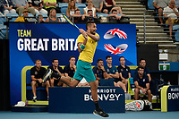 9th January 2020; Sydney Olympic Park Tennis Centre, Sydney, New South Wales, Australia; ATP Cup Australia, Sydney, Day 7; Great Britain versus Australia; Cameron Norrie of Great Britain versus Nick Kyrgios of Australia; Nick Kyrgios of Australia follows through after a return to Cameron Norrie of Great Britain - Editorial Use
