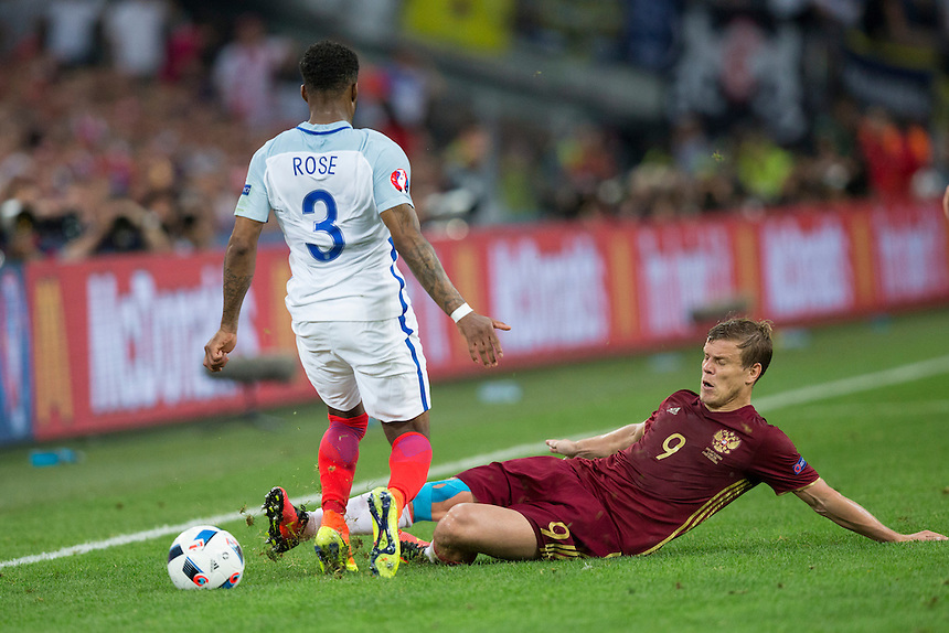England's Danny Rose is fouled by Russia's Aleksandr Kokorin<br /> <br /> Photographer Craig Mercer/CameraSport<br /> <br /> International Football - 2016 UEFA European Championship - Group B - England v Russia - Saturday 11th June 2016 - Stade Velodrome, Marseille - France <br /> <br /> World Copyright &copy; 2016 CameraSport. All rights reserved. 43 Linden Ave. Countesthorpe. Leicester. England. LE8 5PG - Tel: +44 (0) 116 277 4147 - admin@camerasport.com - www.camerasport.com