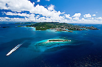 Aerial view of St John<br /> Stevens Cay in the foreground<br /> U.S. Virgin Islands