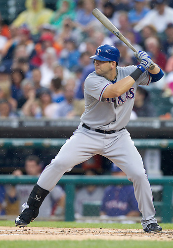 August 02, 2011:  Texas Rangers first baseman Mitch Moreland (#18) at bat during MLB game action between the Texas Rangers and the Detroit Tigers at Comerica Park in Detroit, Michigan.  The Tigers defeated the Rangers 6-5.