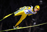 Noriaki Kasai of Japan soars through the air during the FIS World Cup Ski Jumping in Sapporo, northern Japan in February, 2008.
