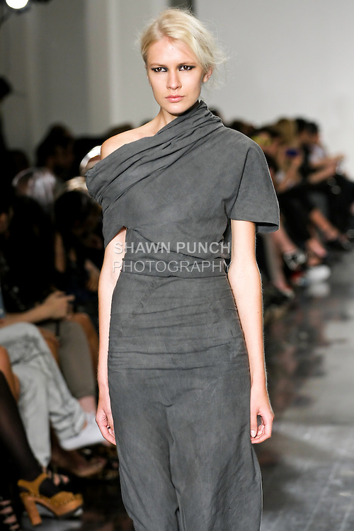 Model walks the runway in an outfit by Vaughan Alexander, for the Verlaine Spring Summer 2011 collection fashion show, during New York Fashion Week Spring 2011, September 15, 2010.