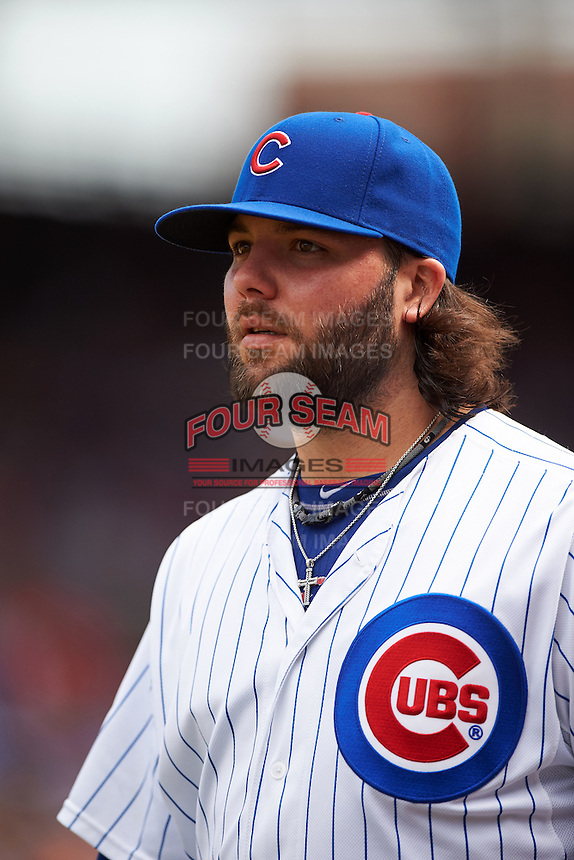 Chicago Cubs pitcher James Russell (40) during a game against the Milwaukee Brewers on August 13, 2015 at Wrigley Field in Chicago, Illinois.  Chicago defeated Milwaukee 9-2.  (Mike Janes/Four Seam Images)