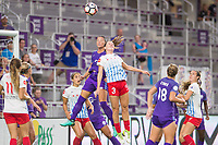 Orlando, FL - Saturday August 05, 2017: Ali Krieger, Arin Gilliland during a regular season National Women's Soccer League (NWSL) match between the Orlando Pride and the Chicago Red Stars at Orlando City Stadium.