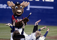 06 April 2008:  The Tacoma Rainier's mascot  entertained the small crowd in attendance against Sacramento at Cheney Stadium in Tacoma, Washington. Tacoma won 3-2 over Sacramento in rain delayed seven inning game.