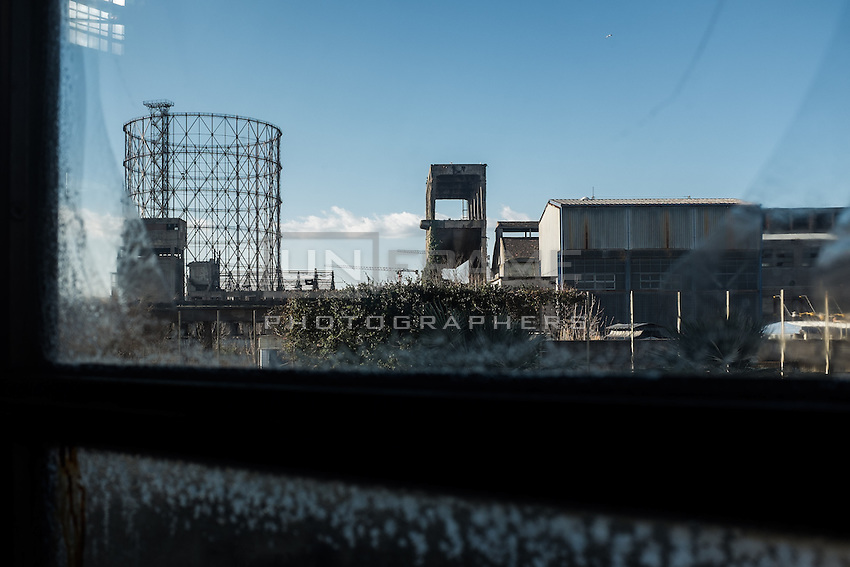 The so called Gazometro is the largest of the four gasometers of the Ostiense dismissed industrial area. View from the Hall of the Machines. Rome, Italy. Mar. 07, 2015