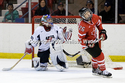 Jessie Vetter (US - 31), Sarah Vaillancourt (Canada - 26) - Team USA defeated Team Canada 4-3 (so) to win the 2008 Four Nations Cup on Sunday, November 9, 2008, in the 1980 Rink in Lake Placid, New York.