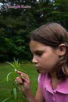 SP08-680z  Child investigating Meadow Spittlebug foam home, Philaenus spumarius
