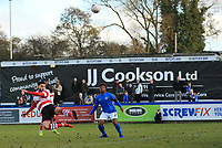 Louie Theophanous of Kingstonian with a looping header during Macclesfield Town vs Kingstonian, Emirates FA Cup Football at the Moss Rose Stadium on 10th November 2019