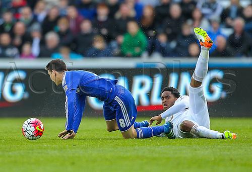 09.04.2016. Liberty Stadium, Swansea, Wales. Barclays Premier League. Swansea versus Chelsea. Chelsea's Oscar is fouled by Swansea City's Leroy Fer