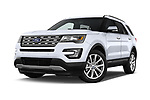 Stock pictures of low aggressive front three quarter view of 2017 Ford Explorer Limited 5 Door SUV Low Aggressive