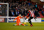 Ben Alnwick of Bolton Wanderers saves from Leon Clarke of Sheffield Utd during the Championship match at Bramall Lane Stadium, Sheffield. Picture date 30th December 2017. Picture credit should read: Simon Bellis/Sportimage