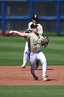 Vanderbilt Commodores infielder Will Toffey (10) throws to first during a game against the Indiana State Sycamores on February 21, 2015 at Charlotte Sports Park in Port Charlotte, Florida.  Indiana State defeated Vanderbilt 8-1.  (Mike Janes/Four Seam Images)