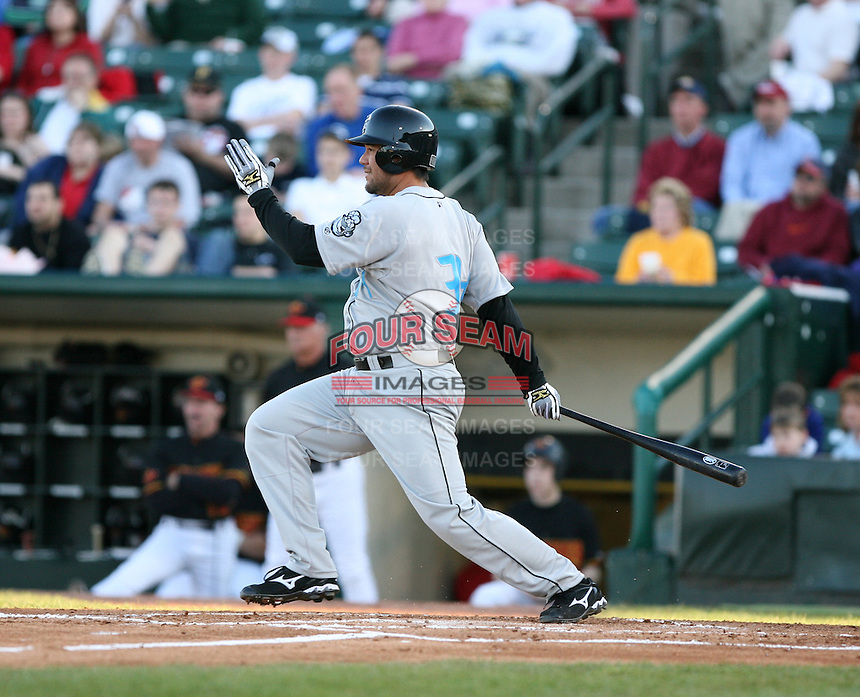 2007:  John Hattig of the Syracuse Chiefs follows through during an at bat vs. the Rochester Red Wings in International League baseball action.  Photo By Mike Janes/Four Seam Images