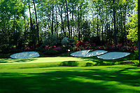 Masters Golf Tournament 2005, Augusta National Georgia, USA. Amen corner, hole no. 13, name Azalea. <br /> <br /> Champion 2005 - Tiger Woods. <br /> <br /> Note: There is no property release or model release available for this image.