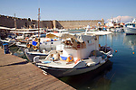 Boats in commercial harbour Rhodes town, Rhodes, Greece