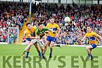 Paul Murphy Kerry in action against Cian O'Dea and Dean Ryan Clare in the Munster Senior Football Championship at Fitzgerald Stadium in Killarney on Sunday.