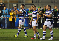 Francois Louw and other members of the Bath team acknowledge their supporters in the crowd after the match. Amlin Challenge Cup Final, between Bath Rugby and Northampton Saints on May 23, 2014 at the Cardiff Arms Park in Cardiff, Wales. Photo by: Patrick Khachfe / Onside Images