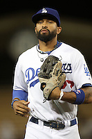 Matt Kemp #27 of the Los Angeles Dodgers during game against the Chicago Cubs at Dodger Stadium in Los Angeles, California on May 3, 2011. Photo by Larry Goren/Four Seam Images