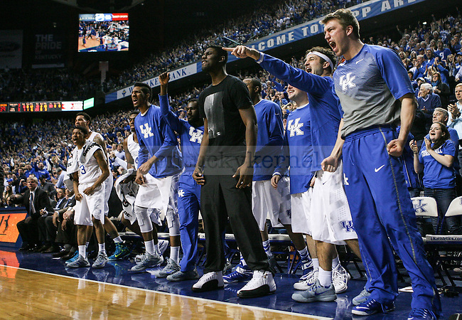 The Kentucky bench cheers during the second half of the Kentucky vs. Florida game at Rupp Arena in Lexington, Ky.,on Saturday, March 7, 2015. UK defeated Florida 67-50, completing a perfect regular season. Photo by Adam Pennavaria | Staff