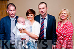 Baby Lydia O'Connell with her parents Paulette O'Halloran & John O'Connell and godparents John Sheehen & NIamh O'Connell who was christened in St. Mary's Church, Listowel by Canon Declan O'Connor and afterwards at the Listowel Arms Hotel.