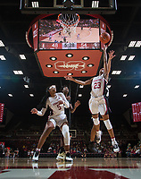 Stanford, CA - January 24, 2020: Kiana Williams, Francesca Belibi at Maples Pavilion. The Stanford Cardinal defeated the Colorado Buffaloes in overtime, 76-68.