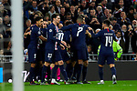 Players of Paris Saint-Germain FC celebrate goal during UEFA Champions League match between Real Madrid and Paris Saint-Germain FC at Santiago Bernabeu Stadium in Madrid, Spain. November 26, 2019. (ALTERPHOTOS/A. Perez Meca)