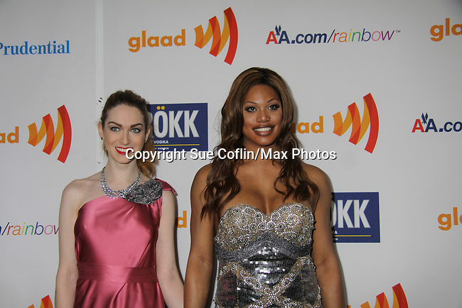 Jamie Clayton & Laverne Cox at the 22nd Annual Glaad Media Awards honoring Ricky Martin (GH) & Russell Simmons on March 19, 2011 at the New York Marriott Marquis, New York City, New York. (Photo by Sue Coflin/Max Photos)