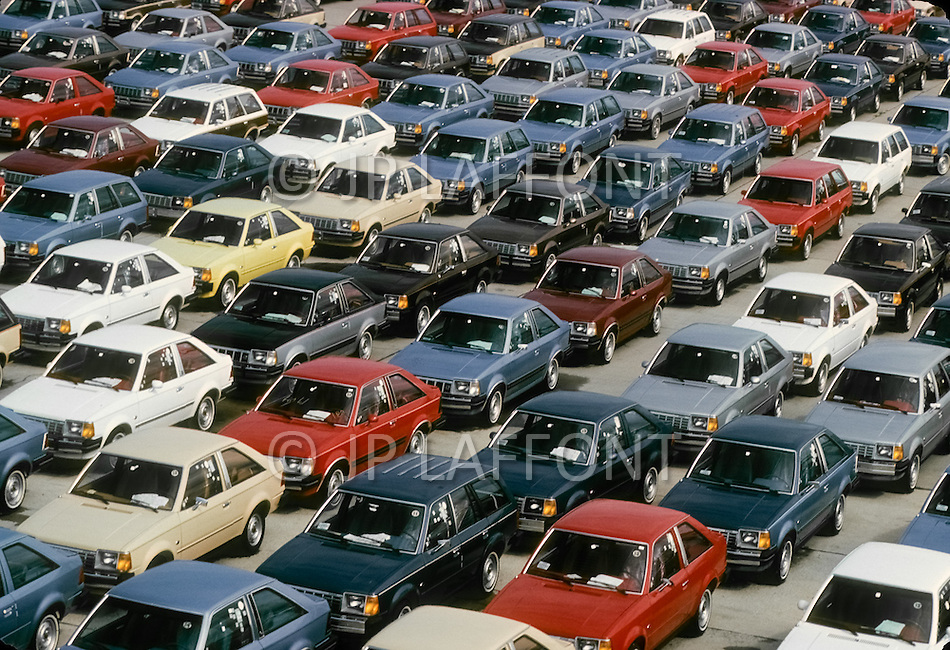 Detroit, U.S.A, December, 1980. Outside the Ford Rouge Factory, the models Escort are ready for shipping.