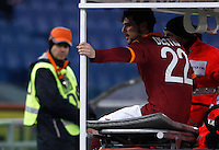 Calcio, ottavi di finale di Coppa Italia: Roma vs Atalanta. Roma, stadio Olimpico, 11 dicembre 2012..AS Roma forward Mattia Destro is carried out of the pitch after being injured during their Italy Cup last-16 tie football match between AS Roma and Atalanta at Rome's Olympic stadium, 11 december 2012. .UPDATE IMAGES PRESS/Isabella Bonotto