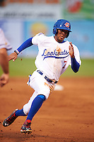 Chattanooga Lookouts outfielder Byron Buxton (7) running the bases during a game against the Jacksonville Suns on April 30, 2015 at AT&T Field in Chattanooga, Tennessee.  Jacksonville defeated Chattanooga 6-4.  (Mike Janes/Four Seam Images)