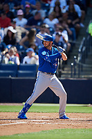 Toronto Blue Jays pinch hitter Forrest Wall (68) at bat during a Grapefruit League Spring Training game against the New York Yankees on February 25, 2019 at George M. Steinbrenner Field in Tampa, Florida.  Yankees defeated the Blue Jays 3-0.  (Mike Janes/Four Seam Images)
