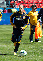 30 March 2013: Los Angeles Galaxy midfielder Landon Donovan #10 in action during the warm-up in an MLS game between the LA Galaxy and Toronto FC at BMO Field in Toronto, Ontario Canada..The game ended in a 2-2 draw..