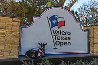 Meet Faaaabel the goat, Valero Texas Open's new unofficial mascot as he sits in the shade near the 10th tee during Round 4 of the Valero Texas Open, AT&amp;T Oaks Course, TPC San Antonio, San Antonio, Texas, USA. 4/22/2018.<br /> Picture: Golffile | Ken Murray<br /> <br /> <br /> All photo usage must carry mandatory copyright credit (&copy; Golffile | Ken Murray)