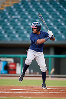 Mississippi Braves third baseman Luis Valenzuela (1) at bat during a game against the Montgomery Biscuits on April 24, 2017 at Montgomery Riverwalk Stadium in Montgomery, Alabama.  Montgomery defeated Mississippi 3-2.  (Mike Janes/Four Seam Images)