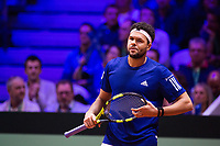 Le joueur de tennis français Jo-Wilfried Tsonga opposé au joueur Croate Marin Cilic lors de la  Finale de la Coupe Davis France vs Croatie, au Stade Pierre Mauroy à Villeneuve d'Ascq . Match gagné par l'équipe de Croatie.<br /> France, Villeneuve d'Ascq , 23 novembre 2018.<br /> French tennis player Jo-Wilfried Tsonga vs Croatian tennis player Marin Cilic during the final of the Davis Cup, at the Pierre Mauroy stadium in Villeneuve d'Ascq .<br /> Match won by Croatian team.<br /> France, Villeneuve d'Ascq , 23 November 2018