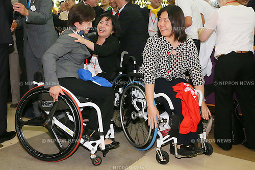(L to R) Wakako Tsuchida, Aki Taguchi, Obinata Kuniko, SEPTEMBER 8, 2013 : Supporters of Tokyo bid team celebrate after Tokyo won the bid to host the 2020 Summer Olympic and Games at The Tokyo Chamber of Commerce and Industry hall (Tosho Hall), Tokyo Japan on Sunday September 8, 2013. (Photo by Yusuke Nakanishi/AFLO SPORT) [1090]