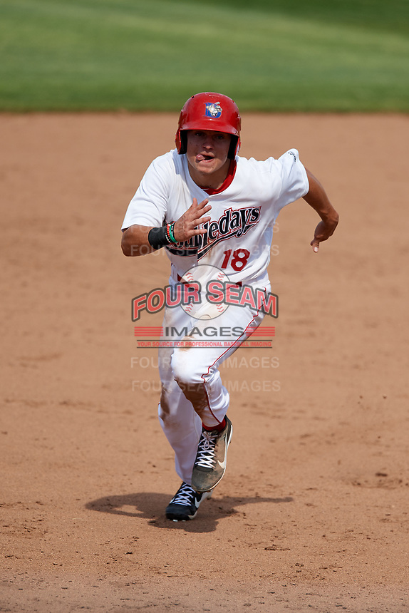 Auburn Doubledays left fielder Jacob Rhinesmith (18) runs the bases during a game against the Batavia Muckdogs on June 17, 2018 at Falcon Park in Auburn, New York.  Auburn defeated Batavia 10-8.  (Mike Janes/Four Seam Images)