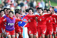 Jubilent Korean players. USA v Korea DPR. FIFA U-17 Women's World Cup Final. North Harbour Stadium, Auckland, Sunday 16 October 2008. Photo: Simon Watts/PHOTOSPORT