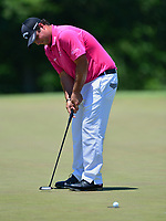Potomac, MD - June 30, 2017: Patrick Reed attempts a putt at the 8th hole during Round 2 of professional play at the Quicken Loans National Tournament at TPC Potomac at Avenel Farm in Potomac, MD, June 30, 2017.  (Photo by Don Baxter/Media Images International)