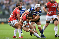 Lewis Ludlow of Gloucester Rugby is tackled by Dave Attwood of Bath Rugby. Gallagher Premiership match, between Bath Rugby and Gloucester Rugby on September 8, 2018 at the Recreation Ground in Bath, England. Photo by: Patrick Khachfe / Onside Images