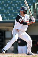 Rochester Red Wings second baseman Brian Dinkelman #12 at bat during the second game of a double header against the Lehigh Valley Ironpigs at Frontier Field on April 14, 2011 in Rochester, New York.  Lehigh Valley defeated Rochester 5-3 in extra innings.  Photo By Mike Janes/Four Seam Images