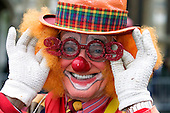 "London/UK, 1 January 2009, Clown with ""2009"" glasses at London's New Year's Day Parade (London Parade). Picture: Bettina Strenske"