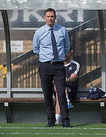 Derek Adams manager of Plymouth Argyle before kick off during the Sky Bet League 2 match between Wycombe Wanderers and Plymouth Argyle at Adams Park, High Wycombe, England on 12 September 2015. Photo by Andy Rowland.