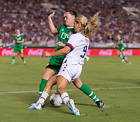 PASADENA, CA - AUGUST 4: Jess Gargan #13 and Lindsey Horan #9 fight for the ball during a game between Ireland and USWNT at Rose Bowl on August 3, 2019 in Pasadena, California.
